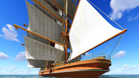 Pirate brigantine at sea. Ancient Pirate brigantine at sea stock photos
