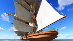 Pirate brigantine at sea Stock Photos