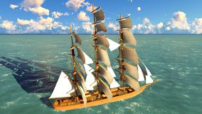 Pirate brigantine at sea. Ancient Pirate brigantine at sea stock photo