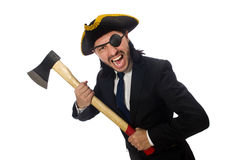The pirate businessman with axe isolated on white Stock Photography