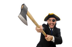 The pirate businessman with axe isolated on white Stock Images