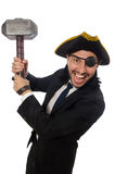 The pirate businessman holding hammer isolated on white Royalty Free Stock Photography