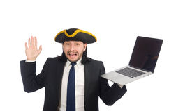 The pirate businessman holding laptop  on white Royalty Free Stock Images