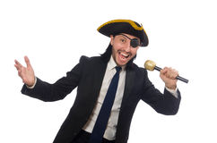 The pirate businessman holding the microphone isolated on white Royalty Free Stock Photography