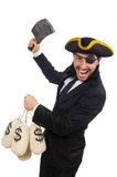 Pirate businessman holding money bags and butcher's knife isolat Royalty Free Stock Images