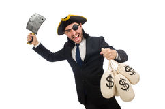 The pirate businessman holding money bags and butcher's knife isolat Royalty Free Stock Photos
