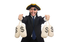 The pirate businessman holding money bags isolated on white Royalty Free Stock Photo