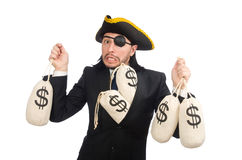 The pirate businessman holding money bags isolated on white Stock Photo
