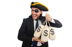 The pirate businessman holding money bags Stock Images