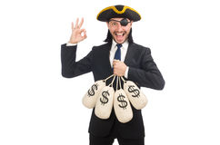 The pirate businessman holding money bags isolated on white Royalty Free Stock Images