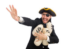 The pirate businessman holding money bags  on white Royalty Free Stock Photography