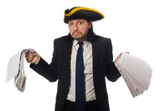 The pirate businessman holding papers  on white Royalty Free Stock Photo