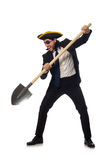 The pirate businessman holding spade isolated on white Stock Photo