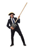 The pirate businessman holding spade  on white Stock Photography