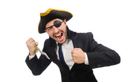 The pirate businessman with sabre Royalty Free Stock Images