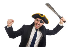 The pirate businessman with sabre  on white Royalty Free Stock Photo