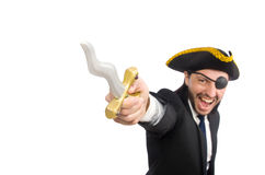 The pirate businessman with sabre  on white Royalty Free Stock Images