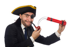 Pirate businessman with smoking pipe and detonator isolated on w Royalty Free Stock Image