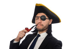 The pirate businessman with smoking pipe isolated on white Royalty Free Stock Photos