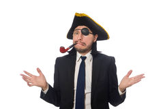 The pirate businessman with smoking pipe isolated on white Stock Photography