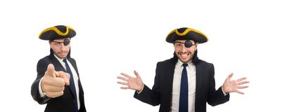 The pirate businessman wearing tricorn isolated on white stock image