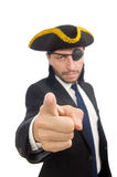 The pirate businessman wearing tricorn isolated on white Stock Photos