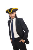 The pirate businessman wearing tricorn isolated on white Royalty Free Stock Photography