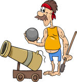 Pirate with cannon cartoon illustration Royalty Free Stock Photos