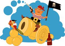 Pirate on a cannon. Cartoon pirate sitting on a cannon, firing a gun, waiving a flag, bottle of rum and a parrot sitting at his feet Royalty Free Stock Photo