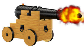 Pirate cannon firing. Steel ball 3d rendering with clipping path Royalty Free Stock Photography