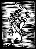 Pirate Captain. In a woodcut style with parrot and sword Stock Photo