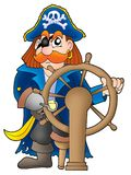 Pirate captain. On white background - color illustration Royalty Free Stock Photo