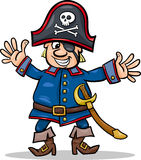 Pirate captain cartoon illustration. Cartoon Illustration of Funny Pirate or Corsair Captain with Eye Patch and Jolly Roger Royalty Free Stock Photos