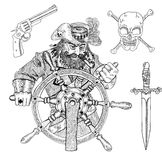 Pirate captain, gun, knife and skull isolated Stock Image