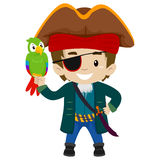 Pirate Captain Kid with Parrot Stock Images