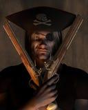 Pirate Captain with Pistols. Dark atmospheric portrait of a pirate captain with hat with skull and cross bones and eyepatch holding pistols, 3d digitally Stock Photos