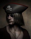 Pirate Captain Portrait. Three quarter dark atmospheric portrait of a pirate captain with hat with skull and cross bones and eyepatch, 3d digitally rendered Royalty Free Stock Photos