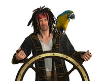 Pirate at Captain's Wheel Stock Photo