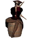 Pirate Captain sitting on a Barrel. Pirate Captain with pistols, hat with skull and cross bones and eyepatch, sitting on a barrel, 3d digitally rendered Royalty Free Stock Photography