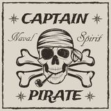 Pirate captain skull and crossbones vector sketch grunge illustration. Pirate captain skull and crossbones. Vector sketch grunge illustration of human skull Royalty Free Stock Photography