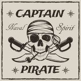 Pirate captain skull and crossed swords vector sketch grunge illustration. Pirate captain skull and crossed swords. Vector sketch grunge illustration of human Royalty Free Stock Image