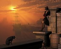 Pirate Captain at Sunset. Pirate captain waiting on the docks at sunset, 3d digitally rendered illustration Stock Image