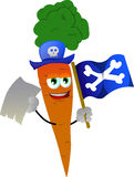 Pirate carrot with blank paper and pirate flag Royalty Free Stock Photo