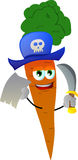 Pirate carrot with blank paper and sword Stock Images