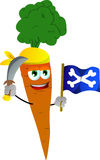 Pirate carrot with sword and pirate flag Stock Images