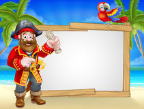 Pirate Cartoon Beach Sign Background. Friendly pirate cartoon character tropical beach background with parrot, tropical palm trees, and large blank sign for your Stock Photography