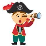 Pirate boy looking through a spyglass telescope. Vector. vector illustration