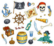 Pirate cartoon vector set Stock Photography