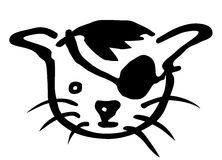 Pirate cat as clipart Stock Photo