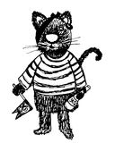 Pirate Cat drawing sketch doodle cartoon  illustration Royalty Free Stock Photography